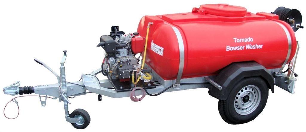 250 Gallon Washer Bower c/w Diesel HP Washer 3000psi c/w 100ft Lance Hose