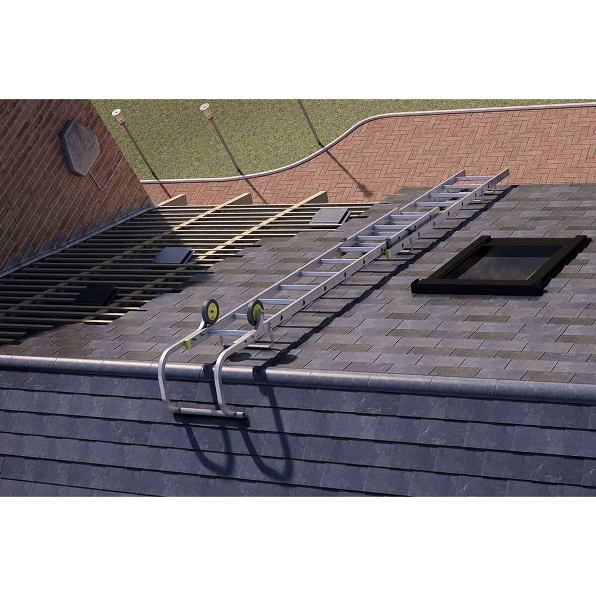 Double Section Extendable Roof Ladder Closed 4.33 Extends to 7.13m
