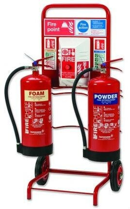 Mobile Fire Point Trolley c/w Bell Bucket + 2 Extinguishers